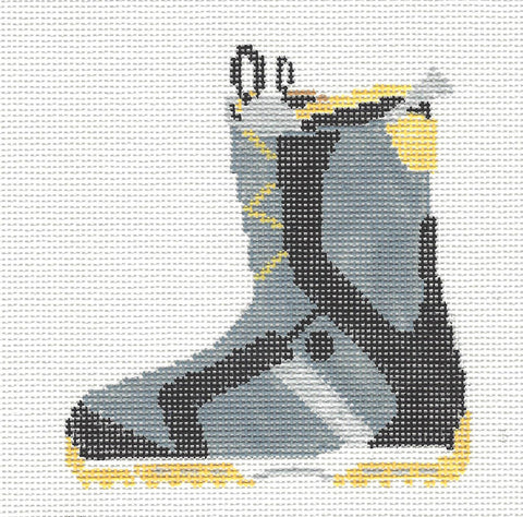 Canvas~Snowboarding Boot Ornament in Gray handpainted Needlepoint Canvas~by Kathy Schenkel