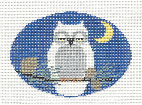 Oval~Snowy Owl handpainted Needlepoint Canvas~by Kathy Schenkel
