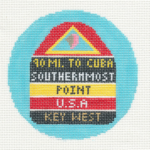 "Round~4.25"" Key West handpainted Needlepoint Canvas~by Silver Needle"