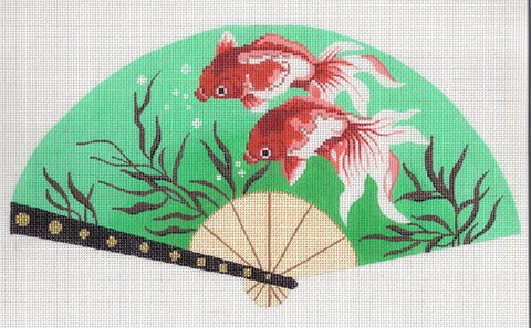 Fan~ LEE Fan Elegant Oriental Koi Goldfish on Teal handpainted Needlepoint Canvas