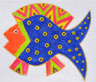 Laurel Burch Blue Fish Handpainted Needlepoint Canvas by Danji Designs