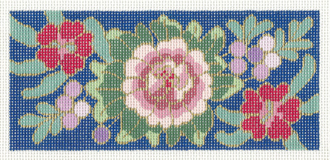 Canvas Insert~Cloisonne Peony handpainted Needlepoint Canvas
