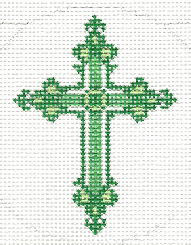 "Cross~ Elegant Green Ornate CROSS handpainted Needlepoint Canvas 3"" Rd. Ornament by LEE"