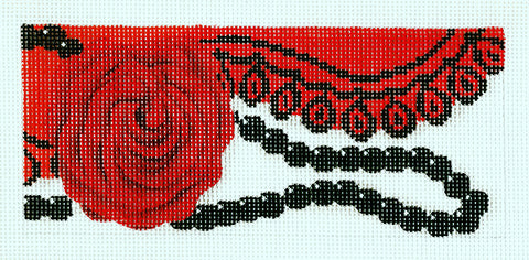 Canvas Insert~Scarlet Rose handpainted Needlepoint Canvas