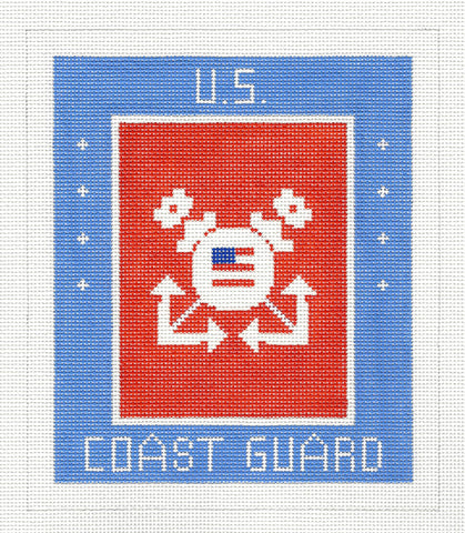 "Military~LEE U.S. Coast Guard Military handpainted Needlepoint Canvas 7"" by 6"" on 18m"