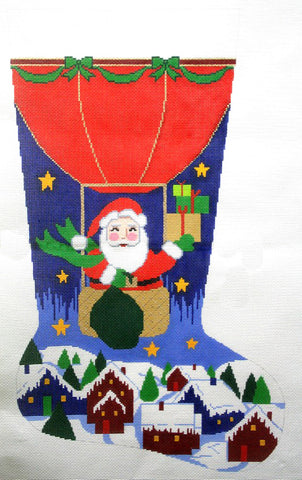 Stocking~ Full Size Balloon Santa handpainted Needlepoint Canvas