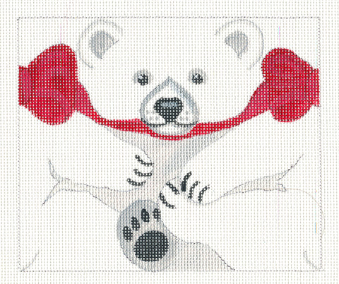 Roll Up~Polar Bear Ornament handpainted Needlepoint Canvas~ by Susan Roberts