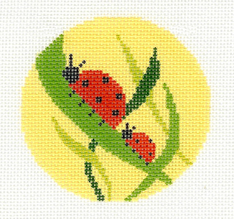 Round~LEE Ladybugs in the Grass handpainted Needlepoint Canvas