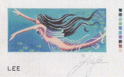 Canvas Insert~LEE Mermaid by Leigh Design ~ handpainted Needlepoint Canvas BB Insert