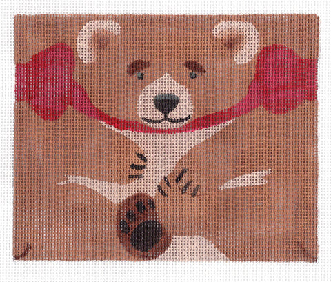 Roll Up~Brown Bear Ornament handpainted Needlepoint Canvas ~ by Susan Roberts