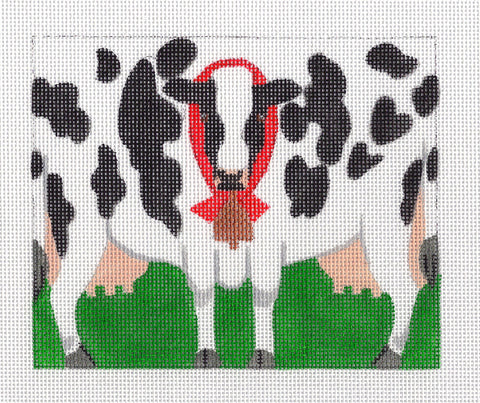 Roll Up~Holstein Black and White Cow with Bell LIZ Ornament - by Susan Roberts