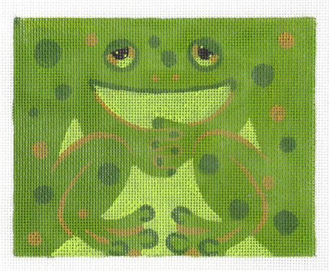 Roll Up~Green Frog Ornament handpainted Needlepoint Canvas ~ by Susan Roberts