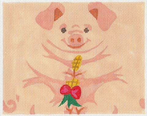 Roll Up~Pink Pig Ornament handpainted Needlepoint Canvas~ by Susan Roberts