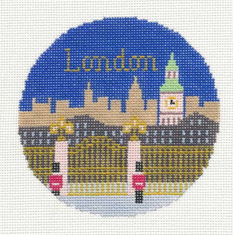 "Round~4.25"" London England handpainted Needlepoint Canvas~by Silver Needle"