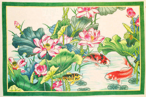 Rug~Oriental Lotus Flowers & Koi Pond Handpainted by LEE Needle Art on 12 Mesh