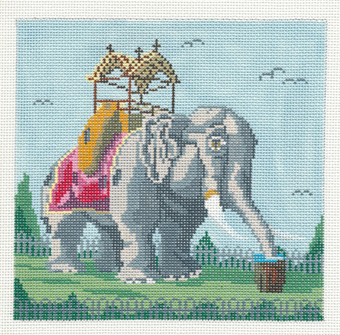 Canvas~Lucy the Elephant in Margate handpainted 18m Needlepoint Canvas by Needle Crossings
