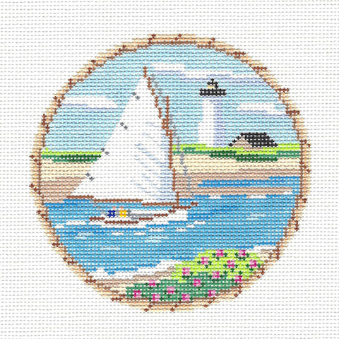 "Round~4.25""Sailing Cat Boat Nantucket New England Coast~by MBM Designs"