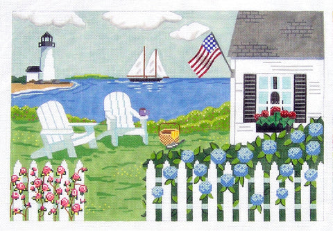 Canvas~Seaside Cottage Nantucket New England Cape Cod~by MBM Designs
