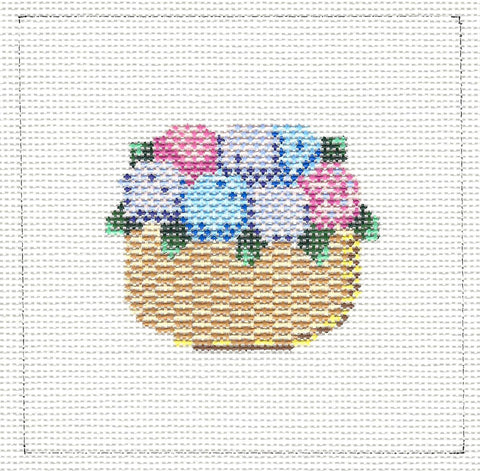 Canvas~Nantucket Basket of Hydrangea in Pink, Blue and Purple~by MBM Designs