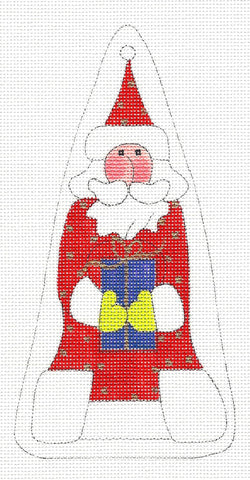 Santa~With Gift Ornament Handpainted Needlepoint Canvas~by Mile High Princess