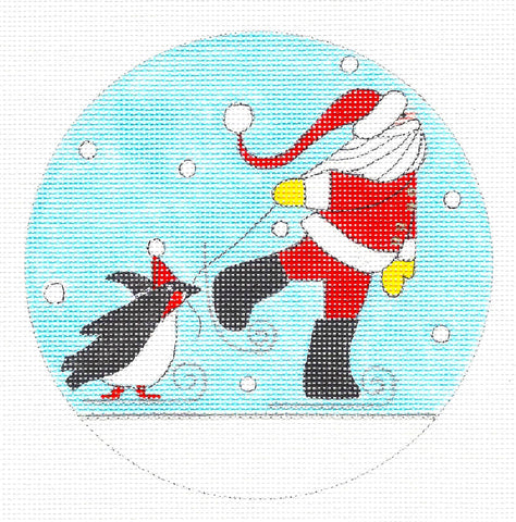 Round~The Skaters with Stitch Guide HP Needlepoint Canvas~by Mile High Princess