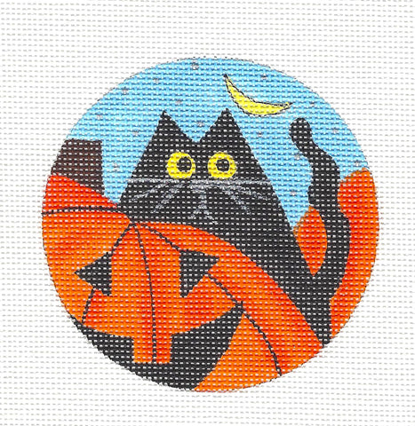 Round~Halloween Pumpkin Patch Kitty Ornament~by Mile High Princess