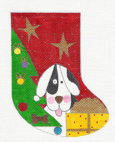 Stocking~Rover in The Christmas Tree Mini Stocking HP Needlepoint Canvas~by Mile High Princess