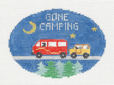 Oval~Gone Camping handpainted Needlepoint Canvas~by Kathy Schenkel