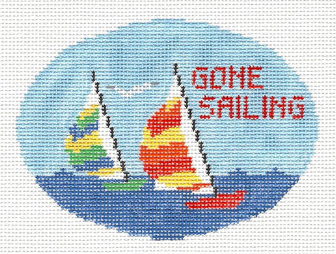 Oval~Gone Sailing handpainted Needlepoint Canvas~by Kathy Schenkel