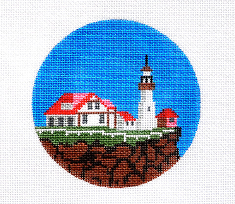 "Round~4"" Maine~ Destination round handpainted Needlepoint Canvas~by Painted Pony  **MAY NEED TO BE SPECIAL ORDERED**"