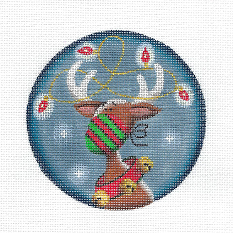 """MASK UP"" ~ Christmas Reindeer and Lights COVID Handpainted Needlepoint Canvas by Rebecca Wood"
