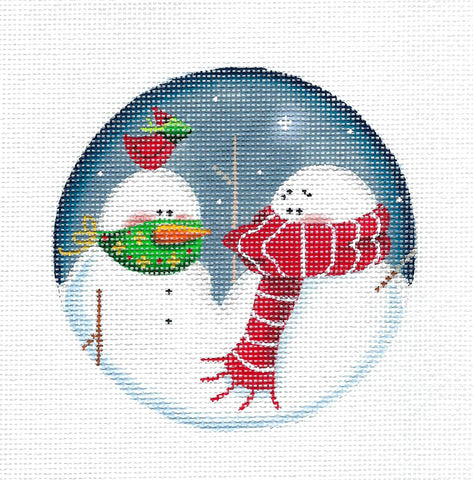 """MASK UP"" ~ 2 Snowmen & Cardinal  COVID handpainted Needlepoint Canvas by Rebecca Wood"