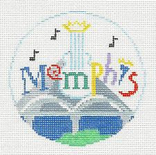 Travel Round~Memphis handpainted Needlepoint Canvas~by Kathy Schenkel**MAY NEED TO BE SPECIAL ORDERED**