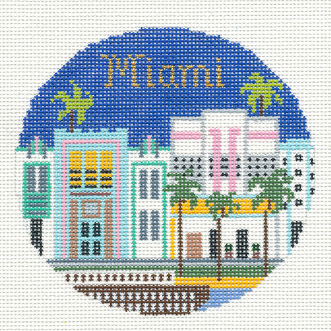 "Round~4.25"" Miami Florida handpainted Needlepoint Canvas~by Silver Needle"