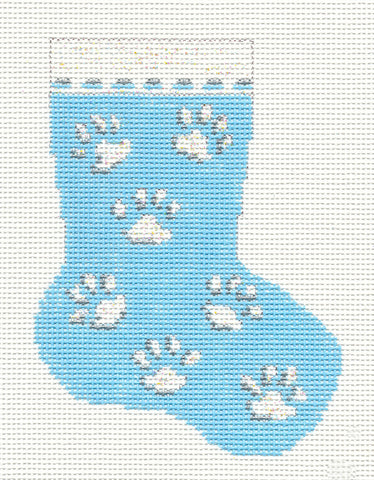 Stocking~Kitty Cat Paw Prints handpainted Needlepoint Canvas~by Needle Crossings