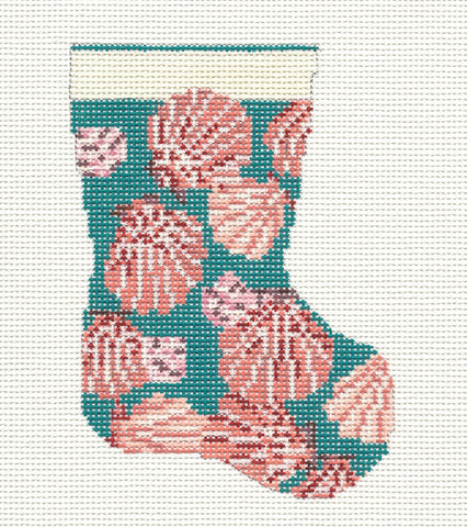 Stocking~Scallop Shell Mini 13M handpainted Needlepoint Canvas~by Needle Crossings