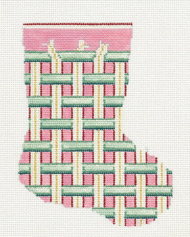 Stocking~Woven Ribbons Mini handpainted Needlepoint Canvas~by Needle Crossings