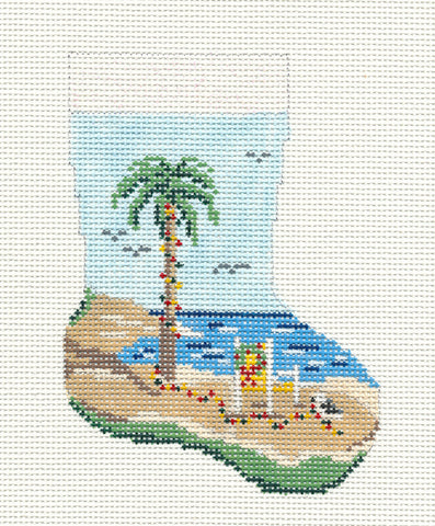 Stocking~Christmas Palm Tree handpainted Needlepoint Canvas~by Needle Crossings