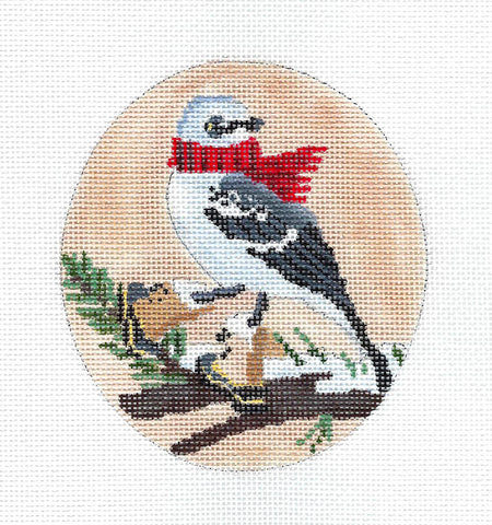 Bird Canvas ~ Mockingbird in Boots & Scarf Ornament  Hand Painted Needlepoint Canvas by Scott Church