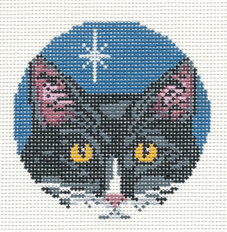"Round~3"" Black & White Cat Face Ornament 18M handpainted Needlepoint Canvas~by Needle Crossings"