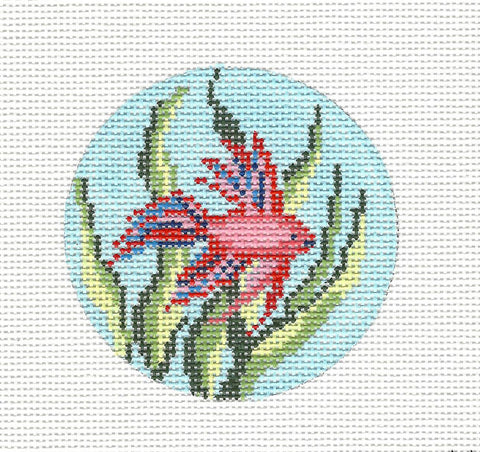 "Round~3"" Round Red & Blue Betta Fish handpainted Needlepoint Canvas~by Needle Crossings"