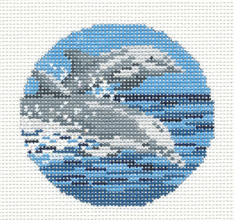 "Round~3"" Two Swimming Dolphins Ornament handpainted Needlepoint Canvas~by Needle Crossings"