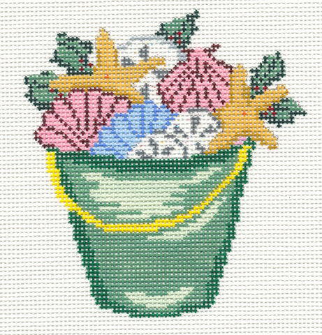 Canvas~Summer Green Beach Bucket handpainted Needlepoint Canvas~by Needle Crossings