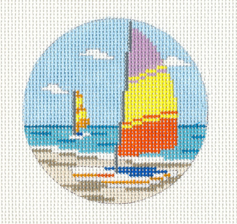 "Round~3"" Sunfish Sailboats Ornament handpainted Needlepoint Canvas~by Needle Crossings"