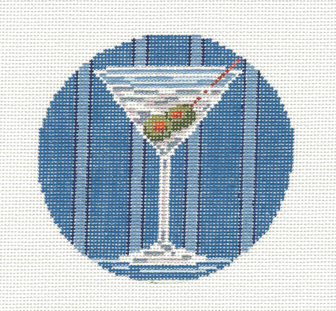 "Round~4"" Martini handpainted Needlepoint Canvas~by Needle Crossings"
