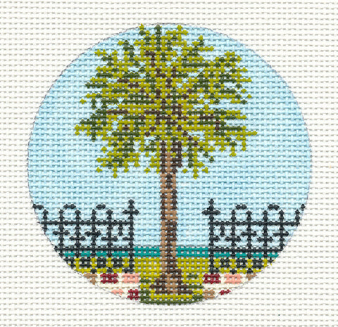 "Round~3"" Palmetto Palm Tree Ornament handpainted Needlepoint Canvas~by Needle Crossings"