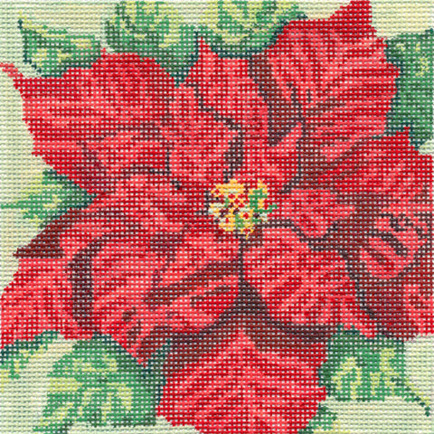 Canvas~Christmas Scarlet Poinsettia handpainted Needlepoint Canvas~by Needle Crossings