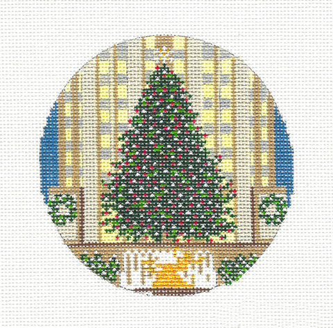 "Christmas Travel Round ~ 4"" Rockefeller Center Christmas Tree handpainted Needlepoint Canvas~by Needle Crossings"