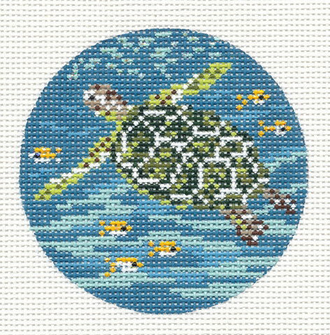 "Round~3"" Green Sea Turtle Ornament handpainted Needlepoint Canvas~by Needle Crossings"