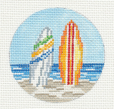 "Round~3"" Beach with Surf Boards Ornament handpainted Needlepoint Canvas~by Needle Crossings"